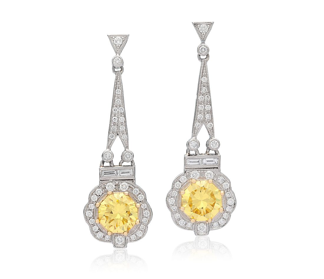 Estate Fancy Intense Yellow Diamond Drop Earrings In Platinum And 18k Gold 3 55 Ct Tw Centers