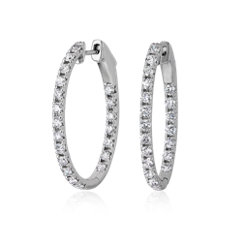 NEW Eternity French Pavé Oval Hoop Earrings in 14k White Gold (1 1/2 ct. tw.)