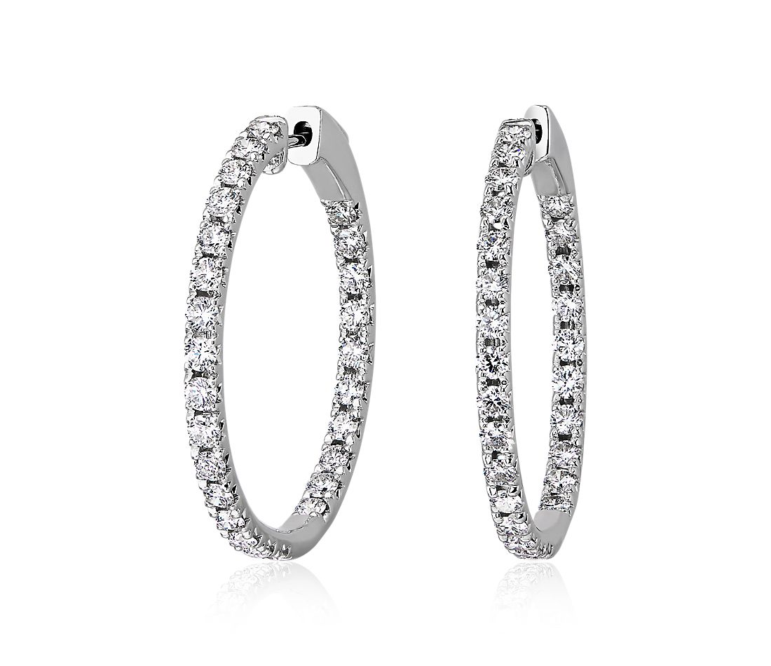 Eternity French Pavé Round Hoop Earrings in 14k White Gold (2 ct. tw.)