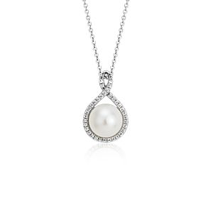 Freshwater Cultured Pearl Twisted Diamond Halo Pendant in 14k White Gold (7.5mm)
