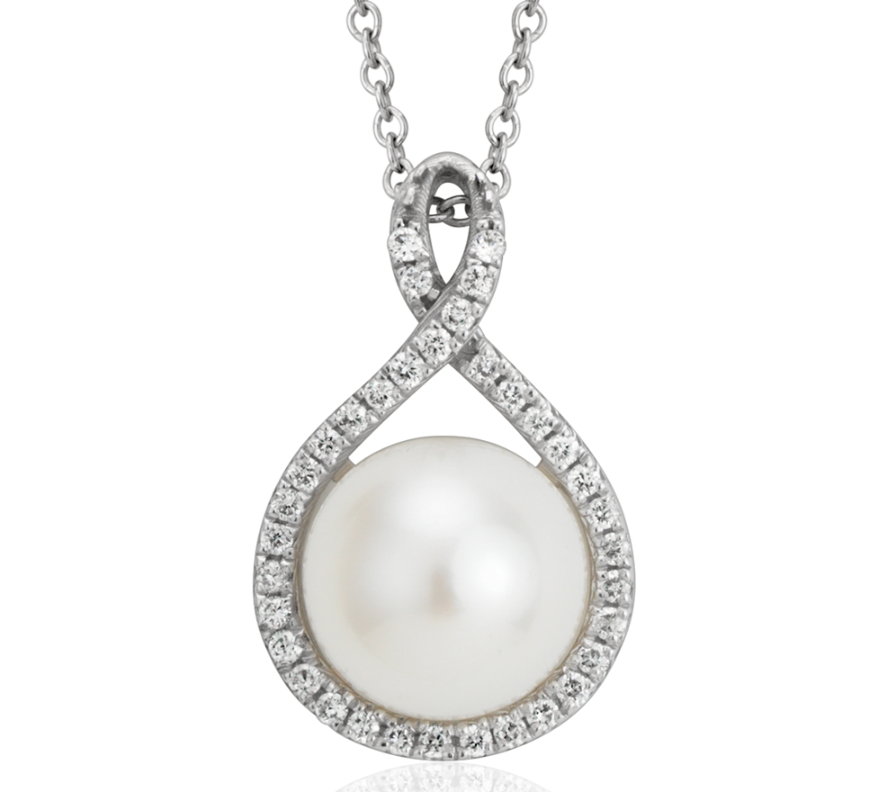 Colgante de diamantes y perlas cultivada de agua dulce en oro blanco de 14 k (7,5mm)