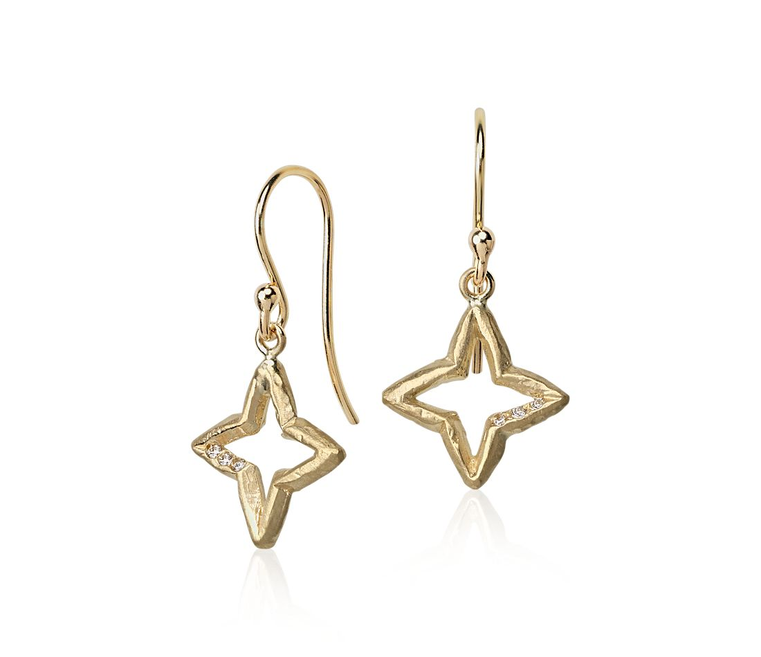 Denise James Evening Star Drop Earrings in Satin 14k Yellow Gold