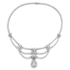 Bella Vaughan for Blue Nile Lux Elegante Diamond Necklace with Pear Drop Enhancer in 18k White Gold (5.02 ct. tw. center)