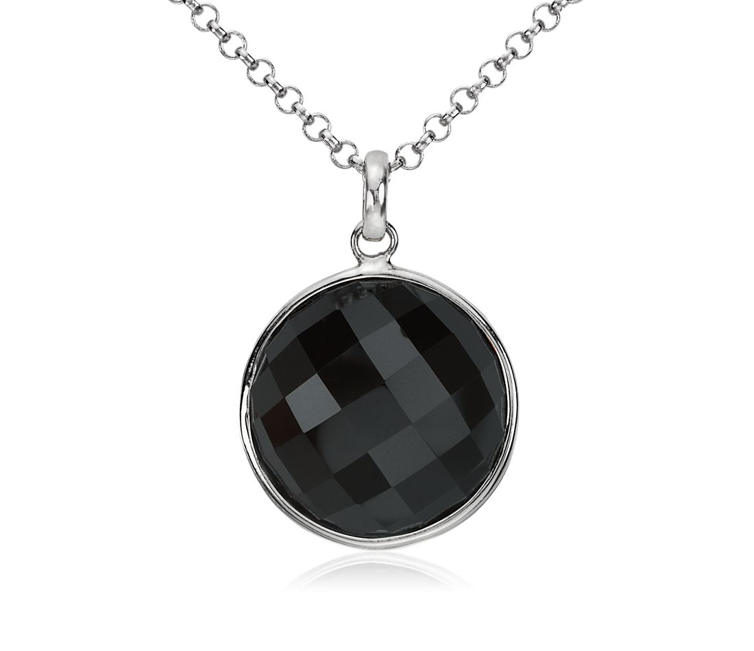 Faceted Black Onyx Pendant in Sterling Silver