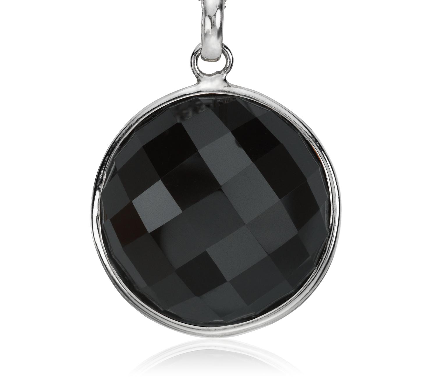 Pendentif onyx noir à facettes en argent sterling