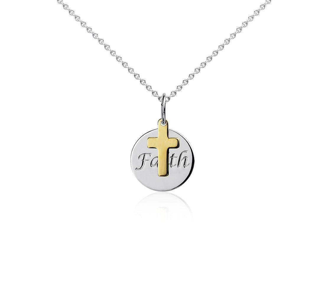 Faith Disc Pendant In Sterling Silver With 14k Yellow Gold