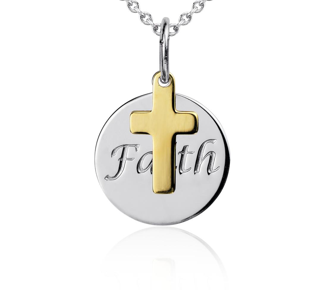 Pendentif disque Faith en argent sterling avec Croix en or jaune 14carats