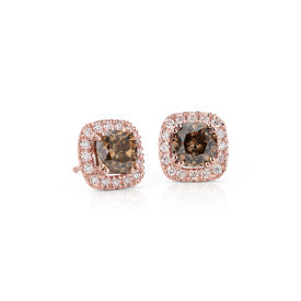NEW Fancy Brown Halo Diamond Earrings in14k Rose Gold (3.29 ct. tw.)