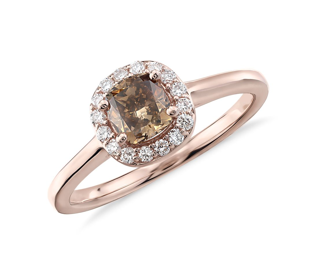 Fancy Brown Halo Diamond Ring in 14k Rose Gold (7/8 ct. tw.)