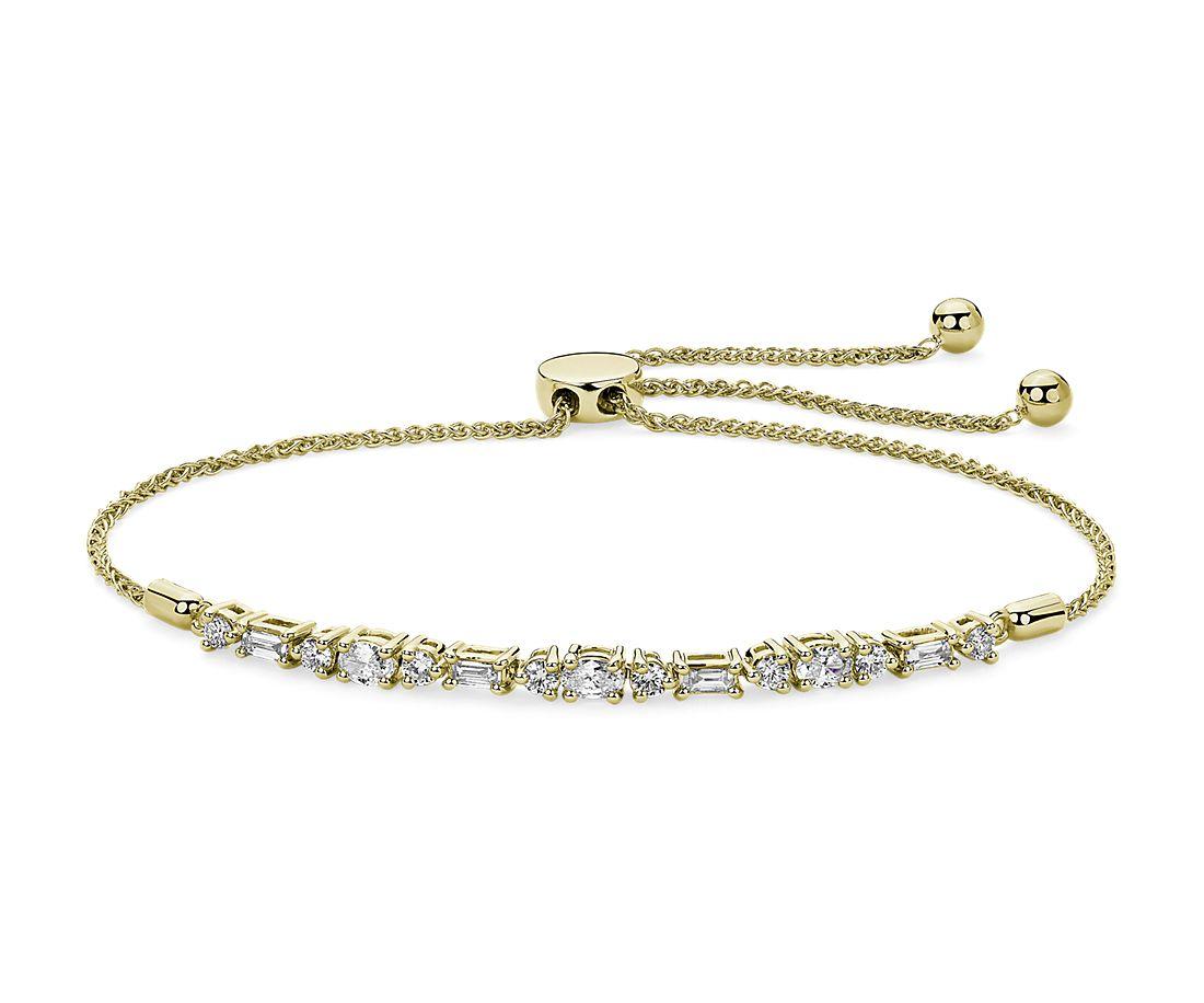 14k 金绚丽钻石波洛手链(3/4 克拉总重量)