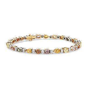 Brazalete de diamantes de color fantasía en oro blanco de 18 k (8,03 qt. total)