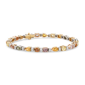 Fancy Color Diamond Bracelet in 18k White Gold (8.03 ct. tw.)