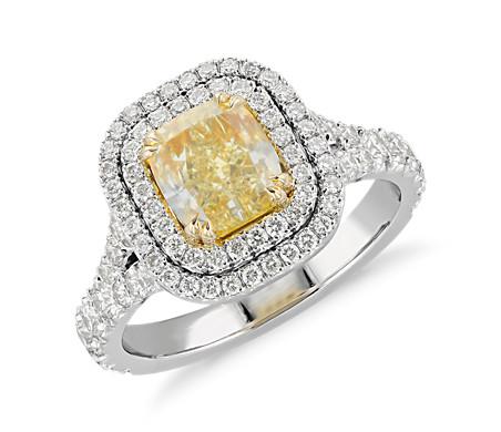 Fancy Intense Yellow Cushion-Cut Diamond Ring in Platinum and 18k Yellow Gold