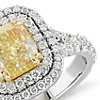 Fancy Intense Yellow Cushion-Cut Diamond Ring in Platinum and 18k Yellow Gold