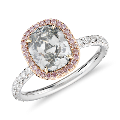 Fancy Light GreyGreen CushionCut Halo Diamond Ring in Platinum