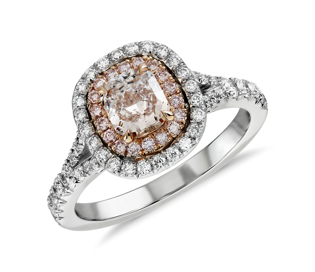 fancy light pink diamond ring in platinum and 18k rose