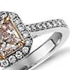 Fancy Light Pink Radiant Diamond Halo Ring in 18k White Gold (1.11 ct. tw.)