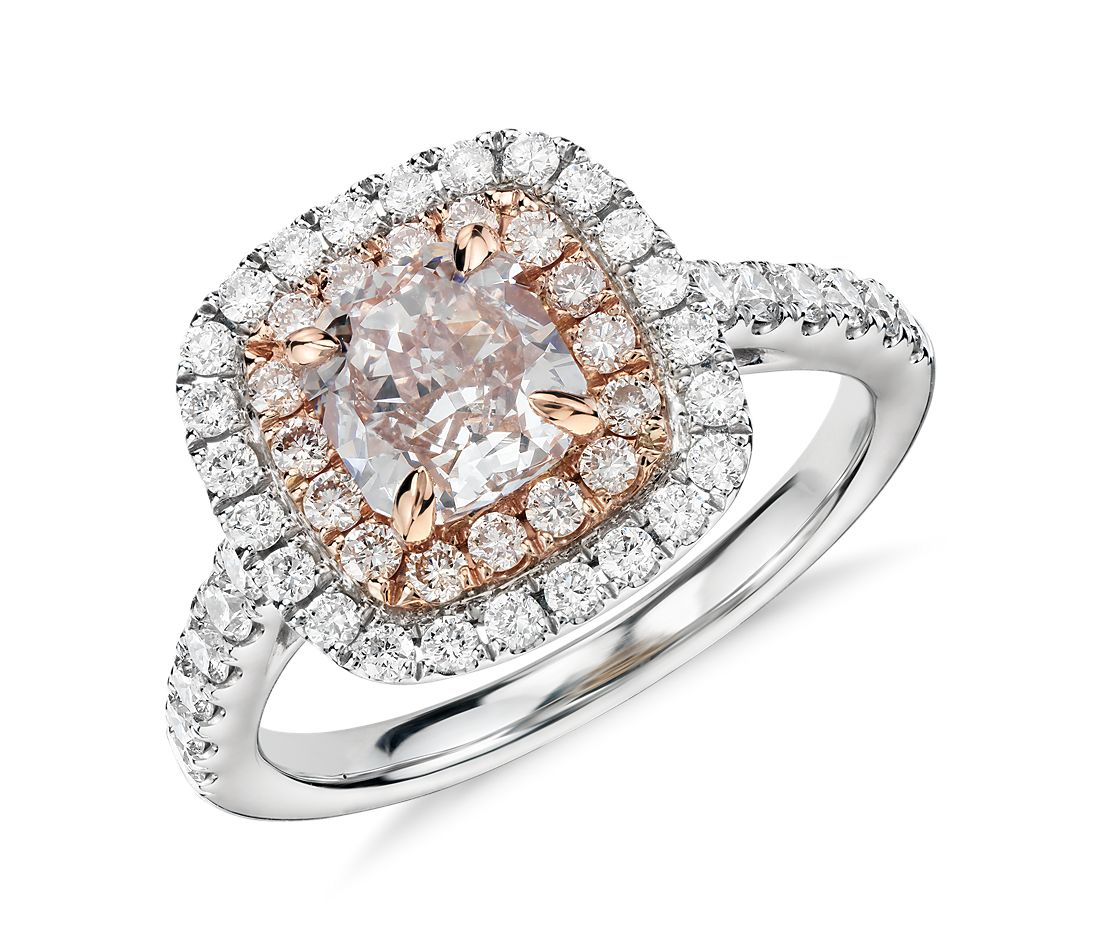 Fancy Light Pink Diamond Double Halo Cushion Cut Ring In 18k White And Rose Gold