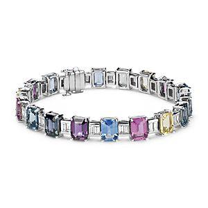 Bracelet diamant et saphir bleu fantaisie en or blanc 18carats (30,60ct, pt)