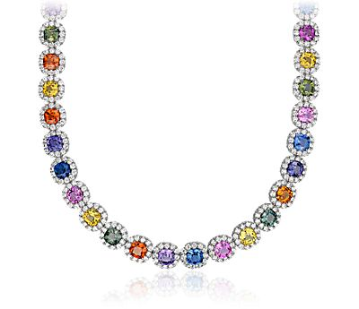 Fancy Sapphire and Diamond Halo Statement Necklace in 18k White Gold