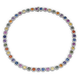 Fancy Sapphire and Diamond Halo Statement Necklace in 18k White Gold (37.92 ct. tw.)