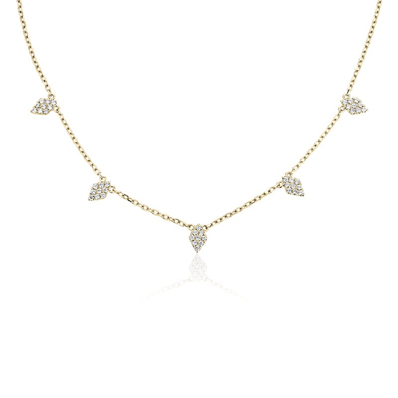 Fancy Shape Diamond Station Necklace in 14K Yellow Gold (1/4 ct.