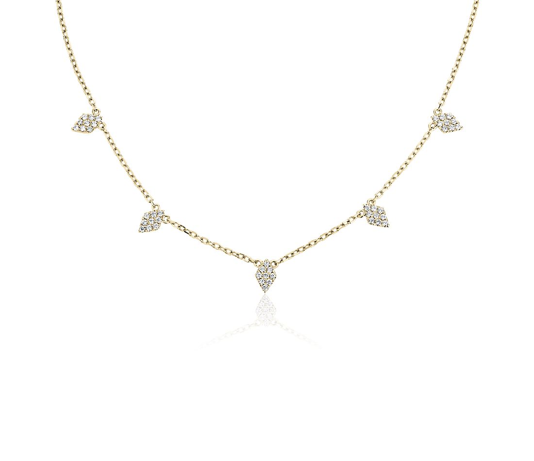 Fancy Shape Diamond Station Necklace in 14K Yellow Gold (1/4 ct. tw.)