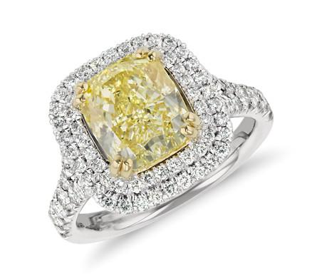 Blue Nile Fancy Yellow Cushion-Cut Diamond Ring in Platinum (3.32 ct ...