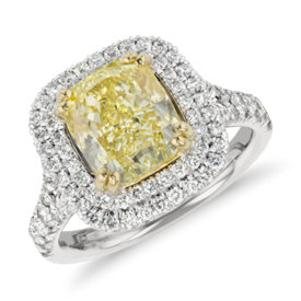 NEW Blue Nile Fancy Yellow Cushion-Cut Diamond Ring in Platinum (3.32 ct. tw.)