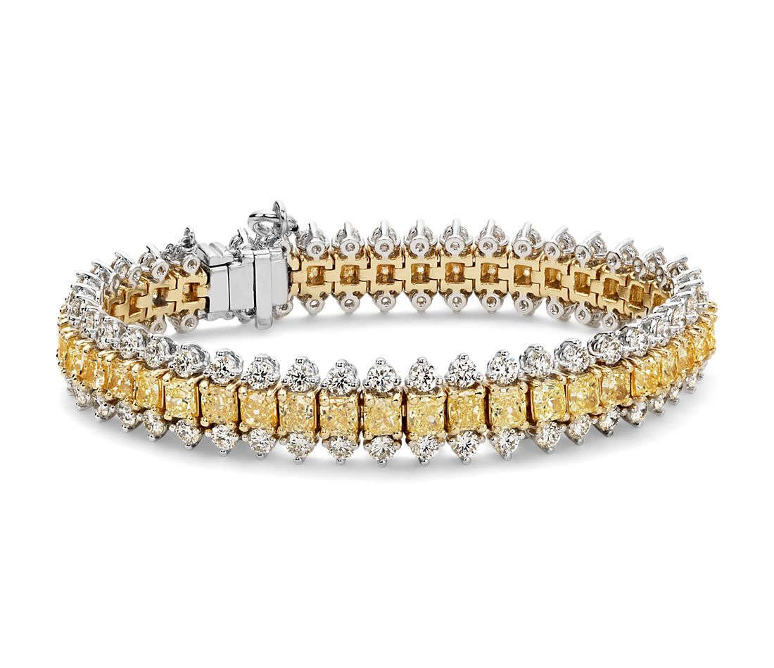 Fancy Intense Yellow Cushion Diamond Bracelet In 18k White
