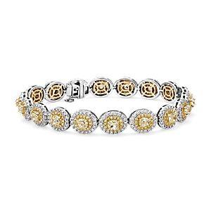 Brazalete con halo de diamantes amarillos fantasía en oro blanco y amarillo de 18k (8,59 qt. total)