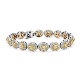 Fancy Yellow Diamond Halo Bracelet in 18k White and Yellow Gold (8.59 ct. tw.)
