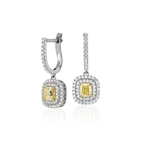 Aretes colgantes de diamantes color amarillo intenso fantasía en oro blanco y amarillo de 18 k (2,14 qt. total)