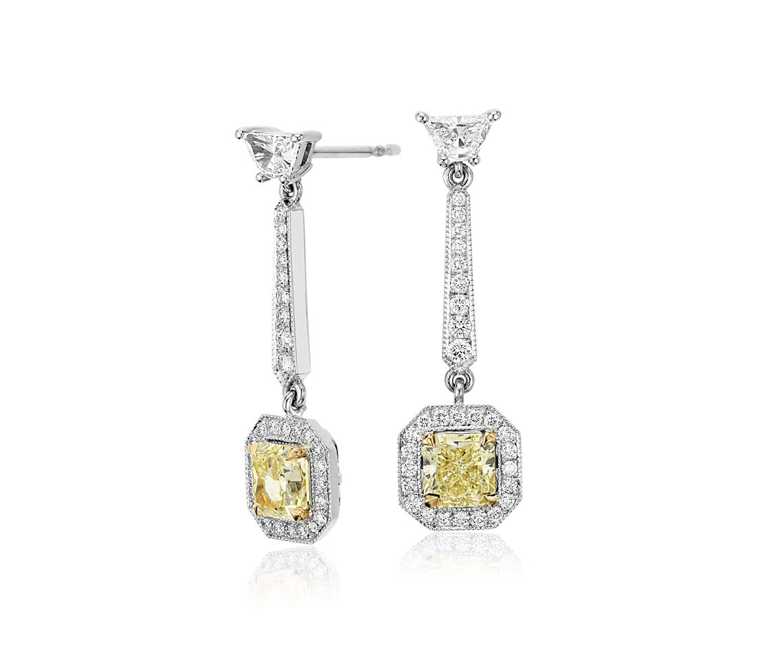 yellow diamond halo earrings - photo #37