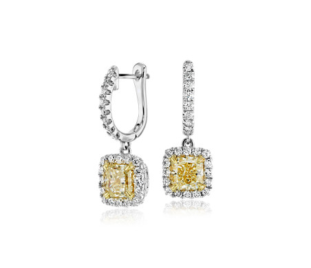 Yellow Diamond Drop Earrings with Halos in 18k White and Yellow Gold (2 4/9 ct. tw.)