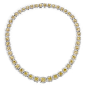 Collier éternité double halo de diamants jaune fantaisie en or blanc et jaune 18 carats (23,11 ct, poids total)