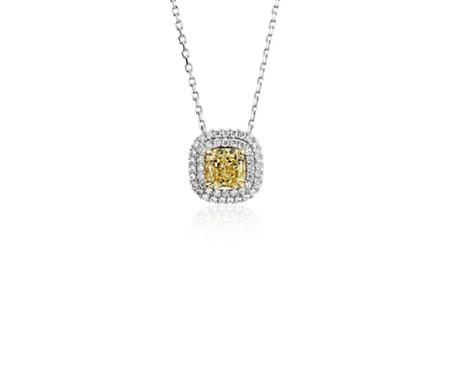 Fancy intense yellow diamond pendant in 18k white and yellow gold fancy intense yellow diamond pendant in 18k white and yellow gold 1 ct tw mozeypictures Images