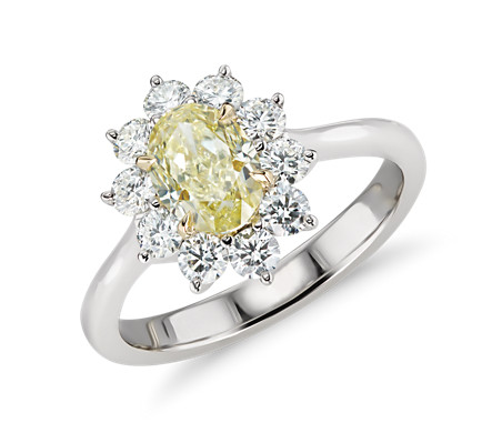 Fancy Yellow Diamond Ring in 18k White and Yellow Gold (approx. 1.00 ct. center)
