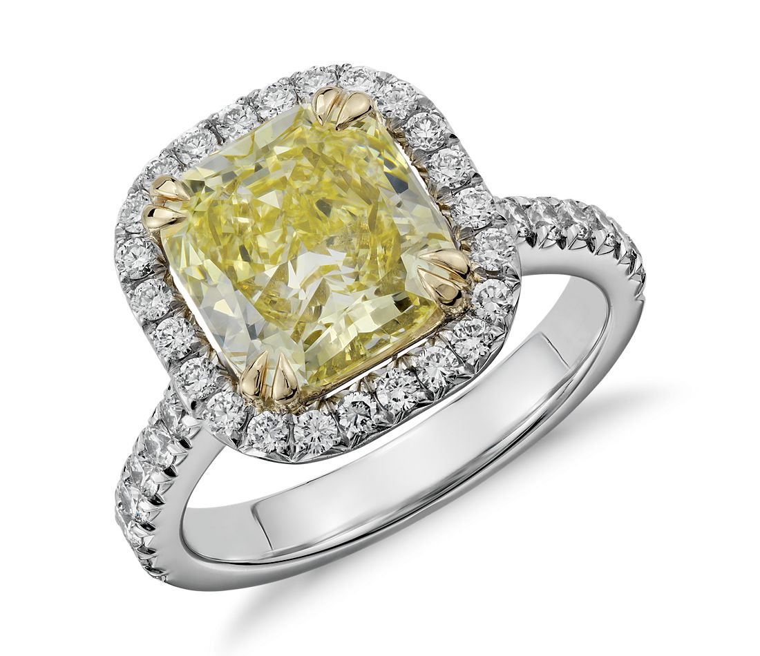 Fancy Yellow Cushion Cut Micropav 233 Halo Diamond Ring In Platinum And 18k Yellow Gold 3 52 Ct