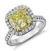 Fancy Yellow Cushion-Cut Micropavé Halo Diamond Ring in Platinum and 18k Yellow Gold (3.52 ct. tw.)