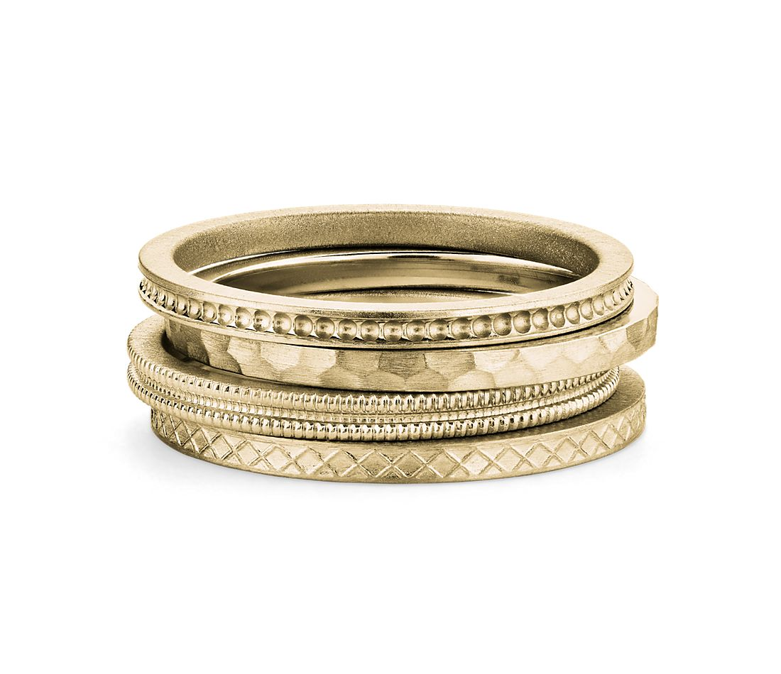 Fashion Ring Stack in 14k Yellow Gold