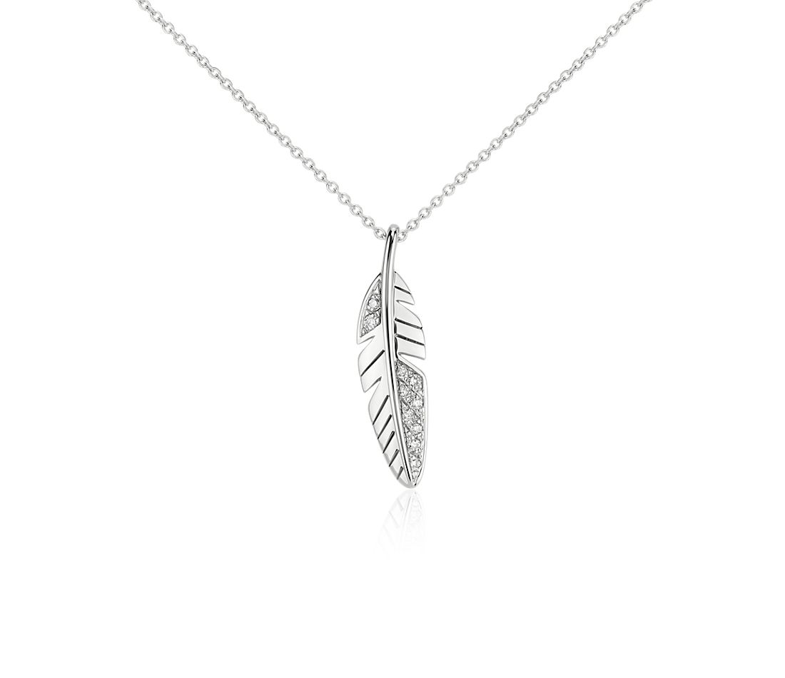 Mini Feather Diamond Pendant In 14k White Gold Blue Nile