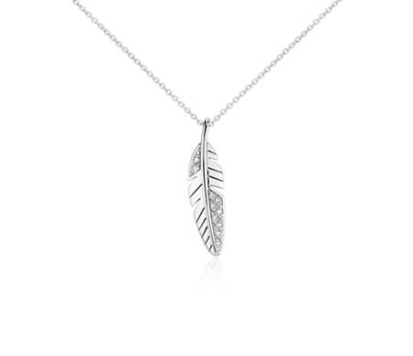 Petit pendentif diamant plume en or blanc 14carats