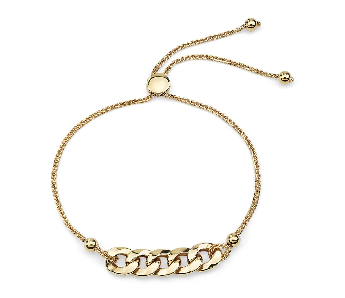Figaro Bolo Bracelet in 14k Yellow Gold