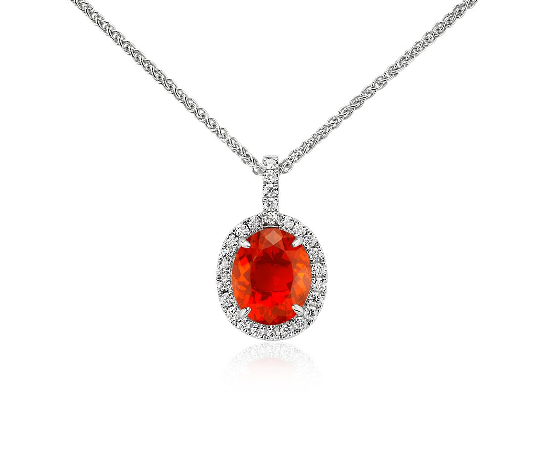 Fire Opal and Diamond Pendant in 18k White Gold