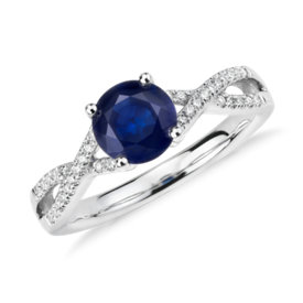 Firenze Sapphire and Diamond Twist Ring in 14k White Gold