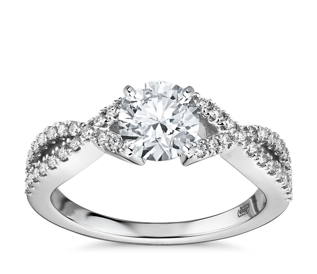 Fishtail Infinity Twist Diamond Engagement Ring in 14k White Gold (1/3 ct. tw.)