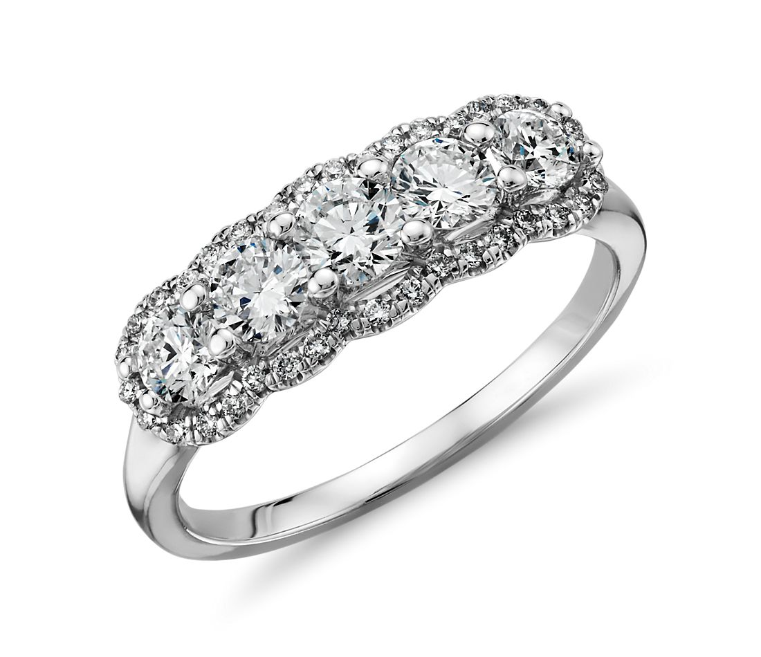 Bague halo de diamants cinq pierres en or blanc 14 carats (1 carat, poids total)