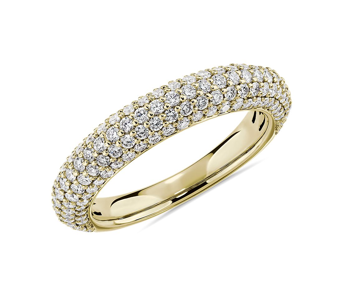 Five Row Domed Anniversary Ring in 14k Yellow Gold - I/SI2  (0.95 ct. tw.)