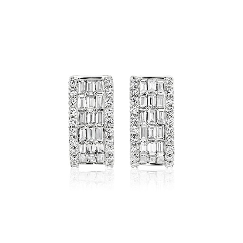 Five Row Round and Baguette Diamond Hoop Earrings in 14k White Go